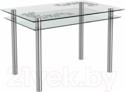 Обеденный стол Artglass Сказка Цветы и листья (хром)