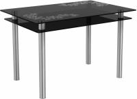 Обеденный стол Artglass Сказка Цветы и листья (серый/хром) -