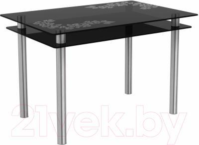 Обеденный стол Artglass Сказка Цветы и листья (серый/хром)
