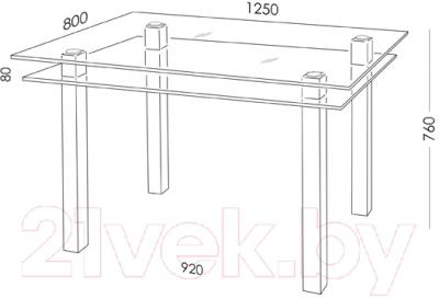 Обеденный стол Artglass Кристалл (серый)