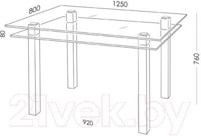 Обеденный стол Artglass Кристалл (серый/черный)