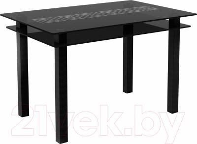 Обеденный стол Artglass Кристалл Меандр (серый/черный)