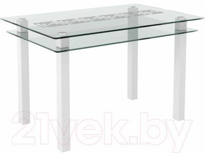 Обеденный стол Artglass Кристалл Меандр (белый)