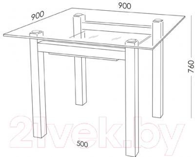 Обеденный стол Artglass Tornado 90 (серый/черный)