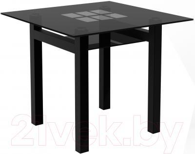 Обеденный стол Artglass Tornado 90 Квадраты (серый/черный)