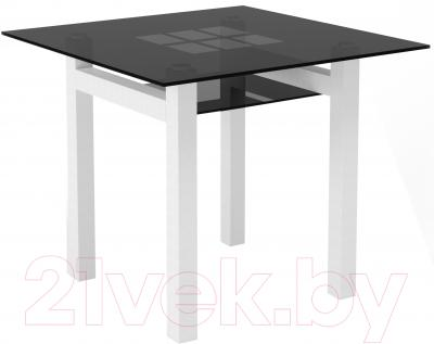 Обеденный стол Artglass Tornado 90 Квадраты (серый/белый)