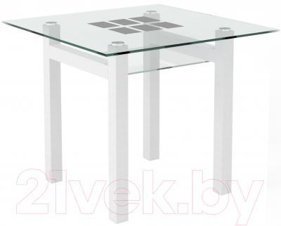 Обеденный стол Artglass Tornado 90 Квадраты (белый)