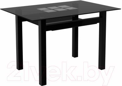 Обеденный стол Artglass Tornado 120 Квадраты (серый/черный)