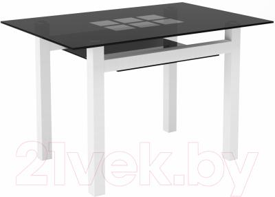 Обеденный стол Artglass Tornado 120 Квадраты (серый/белый)