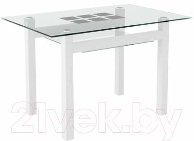 Обеденный стол Artglass Tornado 120 Квадраты (белый)