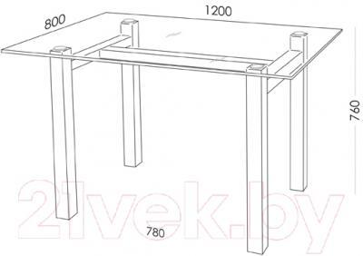 Обеденный стол Artglass Quardi 120 (серый/черный)