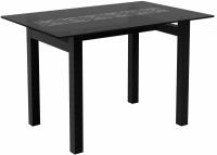 Обеденный стол Artglass Quardi 120 Меандр (серый/черный) -