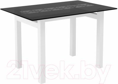 Обеденный стол Artglass Quardi 120 Меандр (серый/белый)