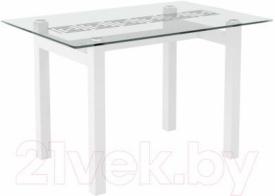 Обеденный стол Artglass Quardi 120 Меандр (белый)