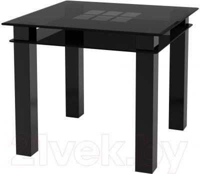 Обеденный стол Artglass Tandem 90 Квадраты (серый/черный)
