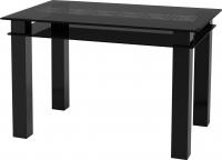 Обеденный стол Artglass Tandem 120 Меандр (серый/черный) -