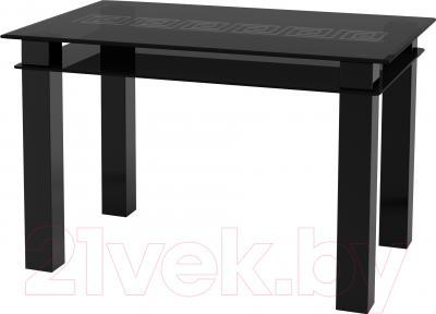 Обеденный стол Artglass Tandem 120 Меандр (серый/черный)