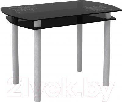 Обеденный стол Artglass Октава Завитки (серый)