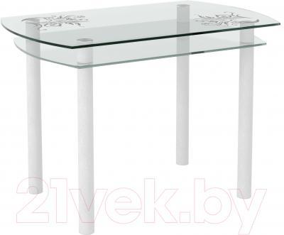Обеденный стол Artglass Октава Завитки (белый)