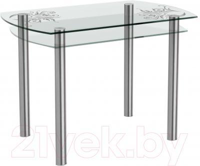 Обеденный стол Artglass Октава Завитки (хром)