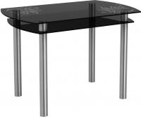Обеденный стол Artglass Октава Завитки (серый/хром) -
