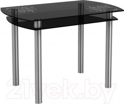 Обеденный стол Artglass Октава Завитки (серый/хром)