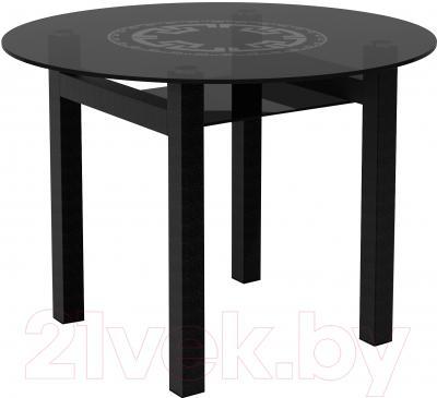 Обеденный стол Artglass Ringo Cleo Круг (серый/черный)