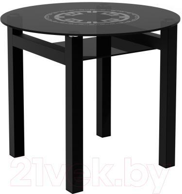 Обеденный стол Artglass Ringo Cleo 90 Круг (серый/черный)