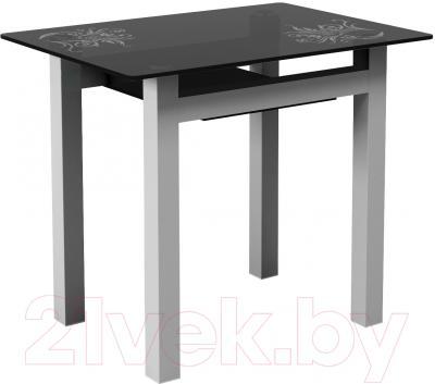Обеденный стол Artglass Comfort Cleo Завитки (серый)