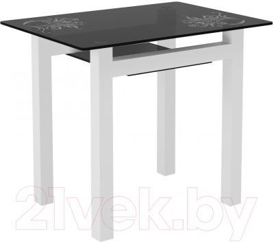 Обеденный стол Artglass Comfort Cleo Завитки (серый/белый)