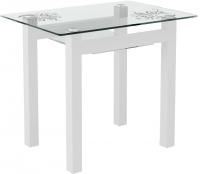 Обеденный стол Artglass Comfort Cleo Завитки (белый) -