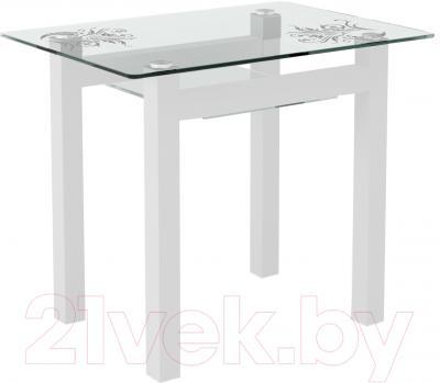Обеденный стол Artglass Comfort Cleo Завитки (белый)