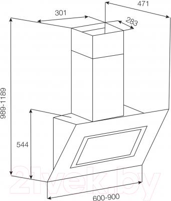 Вытяжка декоративная Korting KHC61080GW