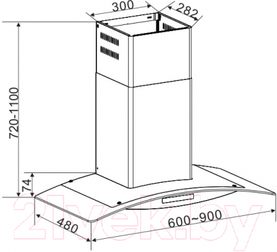 Вытяжка купольная Korting KHC6672X