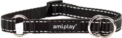 Ошейник-полуудавка Ami Play Reflective AMI105 (M, черный)