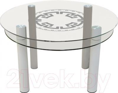 Обеденный стол Artglass Орхидея Круг (белый)