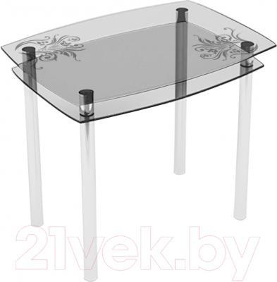 Обеденный стол Artglass Comfort Pole Завитки (хром)