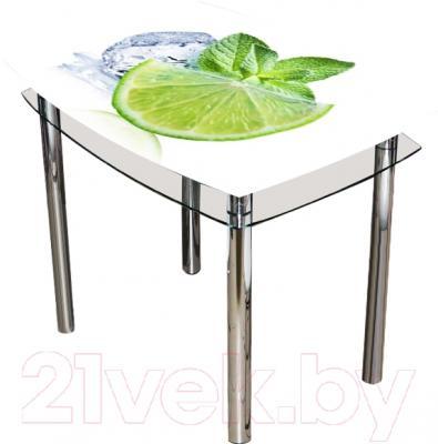 Обеденный стол Artglass Comfort Pole Лайм (хром)