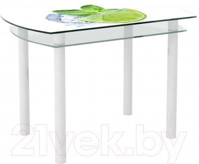 Обеденный стол Artglass Октава Лайм (белый)