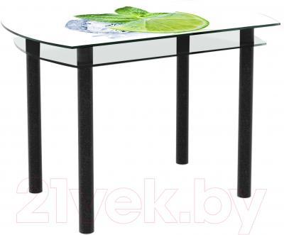 Обеденный стол Artglass Октава Лайм (черный)
