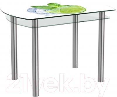 Обеденный стол Artglass Октава Лайм (хром)