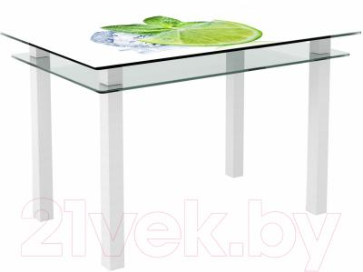 Обеденный стол Artglass Кристалл Лайм (белый)