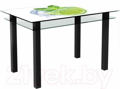 Обеденный стол Artglass Кристалл Лайм (черный)
