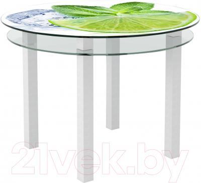 Обеденный стол Artglass Ringo Cristal Лайм (белый)