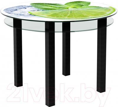 Обеденный стол Artglass Ringo Cristal Лайм (черный)