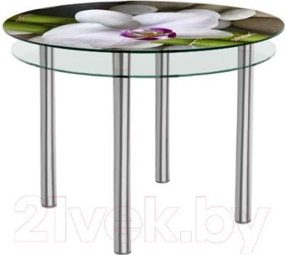 Обеденный стол Artglass Ringo Tale Орхидея белая (хром)