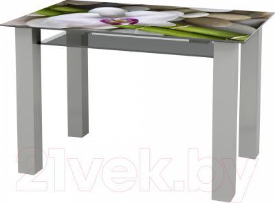 Обеденный стол Artglass Palermo 120 Орхидея белая (серый)