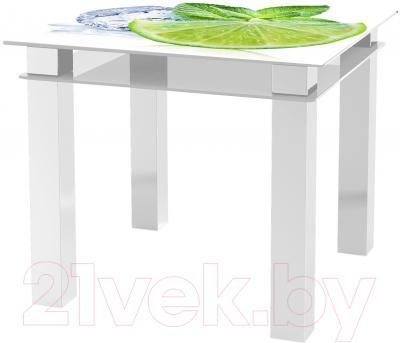 Обеденный стол Artglass Tandem 90 Лайм (белый)