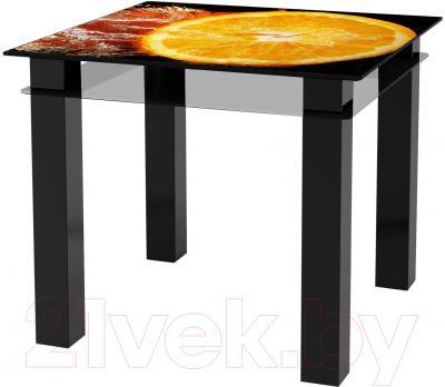 Обеденный стол Artglass Tandem 90 Апельсин (черный)