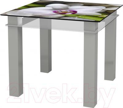 Обеденный стол Artglass Tandem 90 Орхидея белая (серый)